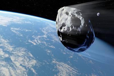 Asteroid Approaching Earth, Artwork Print by Detlev Van Ravenswaay