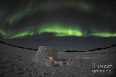 Snow-covered Landscape Photograph - Aurora Borealis Over An Igloo On Walsh by Jiri Hermann