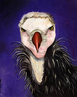 Vulture Painting - Baby Vulture by Leah Saulnier The Painting Maniac