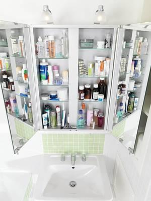 Ceramic Sinks Photograph - Bathroom Cabinet by Tek Image