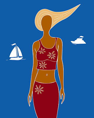 Beach Days Print by Frank Tschakert
