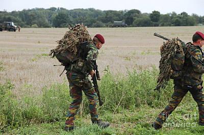 Belgian Paratroopers Red Berets Print by Luc De Jaeger
