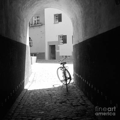 Bicycle In Tunnel Print by Gordon Wood