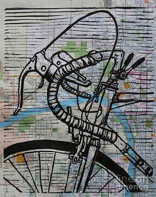 Bike 2 On Map Original by William Cauthern