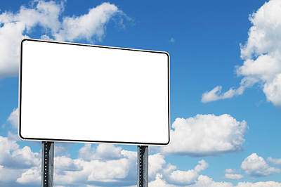 Y120907 Photograph - Blank Road Sign Against A Cloudy Sky by Jon Schulte