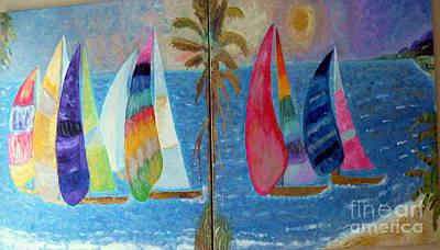 Boats At Sunset Print by Vicky Tarcau
