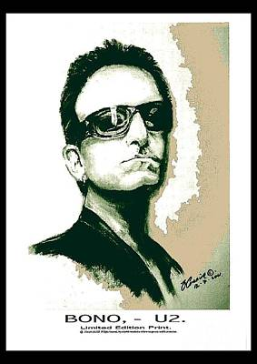 U2 Digital Art - Bono U2 by Liam O Conaire