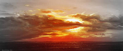 Bound Of Glory - Panoramic Sunset  Print by Gina De Gorna