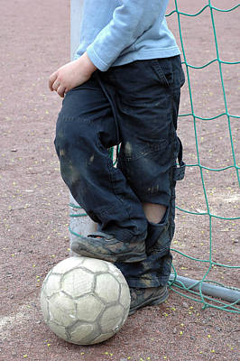 Pause Photograph - Boy With Soccer Ball by Matthias Hauser