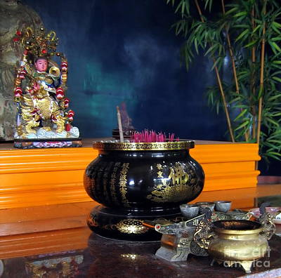 Burned Clay Photograph - Buddhist Altar by Yali Shi