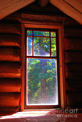 Log Cabins Mixed Media - Cabin Window by Bill  Thomson