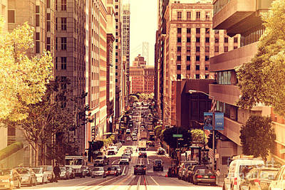 California Street In San Francisco Print by Wingsdomain Art and Photography