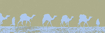 Cairo Mixed Media - Camel Caravan by Charles Shoup