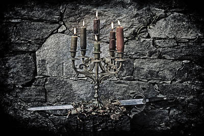 Candle Holder And Sword Print by Joana Kruse