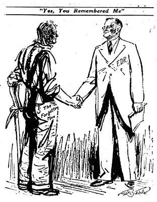 Cartoon: Fdr & Workingmen Print by Granger