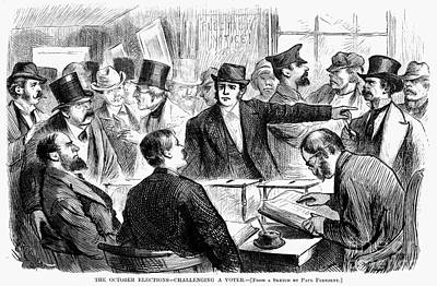 Challenging A Voter, 1872 Print by Granger