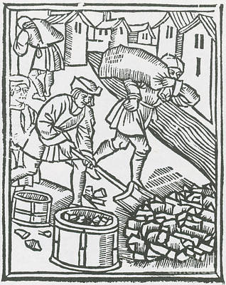 Charcoal Burners, Medieval Tradesmen Print by Science Source