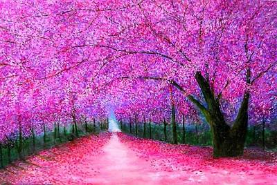 Fushia Painting - Cherry Blossoms Lane by Marie-Line Vasseur
