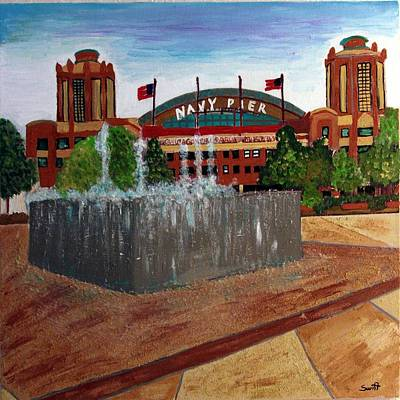 Magnificent Mile Painting - Chicago Navy Pier by Char Swift