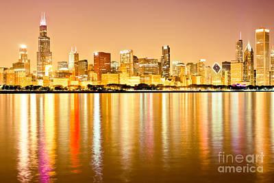 Chicago Skyline At Night Photo Print by Paul Velgos