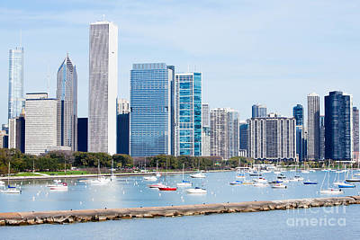 Chicago Skyline Lakefront Print by Paul Velgos