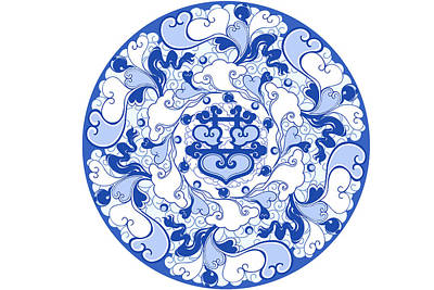 Circle Digital Art - Chinese Traditional Blue And White Porcelain Style Pattern by BJI Blue Jean Images