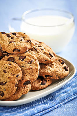 Cocoa Photograph - Chocolate Chip Cookies And Milk by Elena Elisseeva