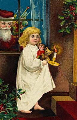 St. Nicholas Painting - Christmas Card by American School