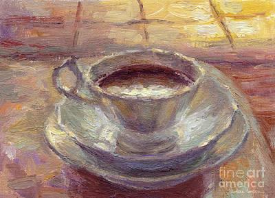 Impressionistic Still Life Painting - Coffee Cup Still Life Painting by Svetlana Novikova