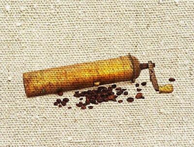 Coffee Mill And Beans Print by Michal Boubin