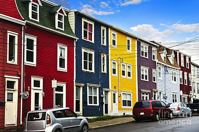 Real-estate Photograph - Colorful Houses In St. John's Newfoundland by Elena Elisseeva