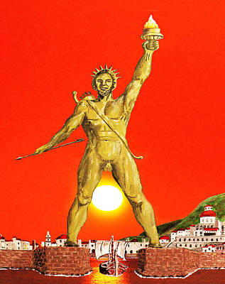 Acrylic On Canvas Photograph - Colossus Of Rhodes by Eric Kempson