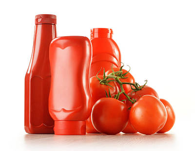 Ketchup Photograph - Composition With Ketchup And Fresh Tomatoes Isolated On White by T Monticello