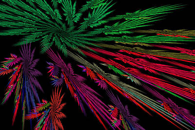 Computer Generated Red Green Abstract Fractal Flame Modern Art Print by Keith Webber Jr