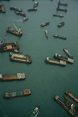Transportation Of Goods Photograph - Container Ships In Hong Kong Harbor by Justin Guariglia