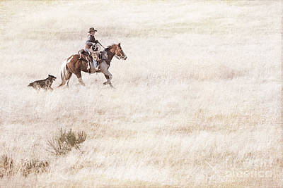 Artist Working Photograph - Cowboy And Dog by Cindy Singleton