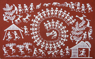 Warli Painting - Cultivation by Blacred Art