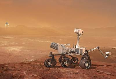 Braking Photograph - Curiosity Rover On Mars, Artwork by Henning Dalhoff