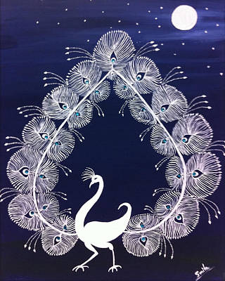 Warli Painting - Dancing Peacock by Smita Sumant