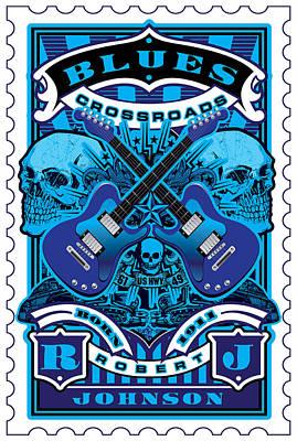 David Cook Umgx Vintage Studios Blues Crossroads Illustrated Stamp Art Poster Print by David Cook  Los Angeles Prints