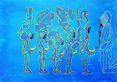 Dinka Painting - Dinka Wise Virgins  by Gloria Ssali