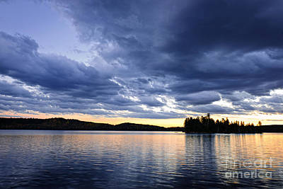 Two Islands Photograph - Dramatic Sunset At Lake by Elena Elisseeva