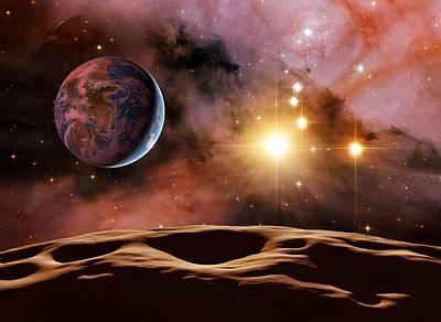 Earthlike Alien Planet, Artwork Print by Detlev Van Ravenswaay