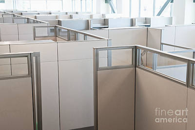 Florescent Lighting Photograph - Empty Office Cubicles by Jetta Productions, Inc