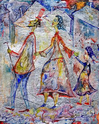 Girl Drawing - Family by Milen Litchkov