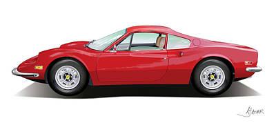 Automotive.digital Digital Art - Ferrari Dino by Alain Jamar