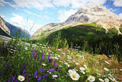 Experiences Digital Art - Field Of Daisies And Wild Flowers/digital Painting  by Sandra Cunningham