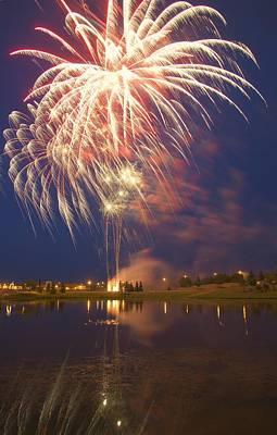 Fireworks Display On Canada Day Print by Carson Ganci
