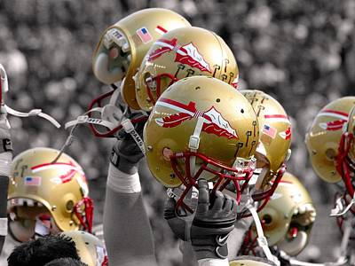 Florida State Photograph - Florida State Football Helmets by Mike Olivella