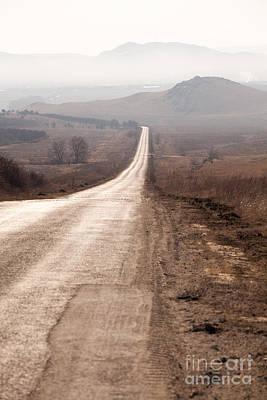 Foggy Road In Dobrogea Print by Gabriela Insuratelu